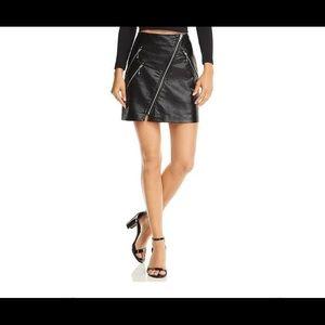 New Faux Leather Zipper Mini Skirt